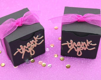 Party Favor Boxes, Black, Hot Pink & Gold Glitter Favor Boxes, Baby Shower Favor Boxes , Birthday Party Favor Boxes, Party Favor Boxes