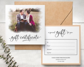 Gift Certificate Photography, Gift Certificate Template, Calligraphy , Photoshop Template, Gift Card 012  INSTANT DOWNLOAD