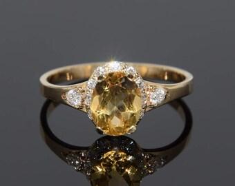 Goldring mit stein  Citrine gold ring | Etsy