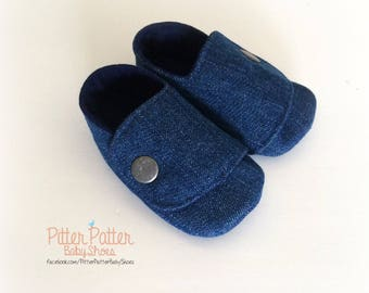 Denim Baby Shoes - Gender Neutral Baby Shoes - Infant Booties - Baby Booties - Baby Gift -  Baby Shower Gift - Denim Shoes - Baby Booties