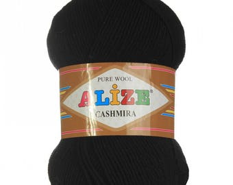 CASHMIRA Alize #60 (black) Poor wool 100 gr. - 300 m.  knitting crochet Soft yarn , Wool Yarn