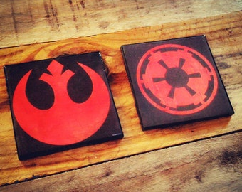Star Wars, Rebllion, Empire, ceramic, tile, drink coasters, emblems