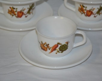 Arcopal, vegetables, coffee cup and saucer