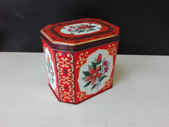 Vintage tea tin, flowered