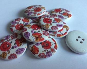 25mm round wooden 4 hole buttons  floral  x 15