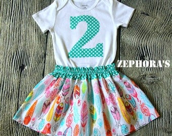 2 Year Old 2 Piece BIrthday Outfit Set- Girl's 2nd Birthday- Feathers and Dots