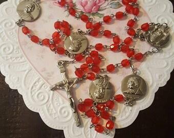 Pope John Paul 2nd Rosary....Red beads...silvertone.