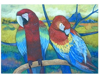 "Acrylic painting on cardboard ""Esotic parrots"""