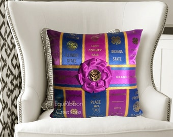 "Horse Show Ribbon Pillow - ""The Trim"" - Made to Order - Horse Show Ribbons - Dog Show Ribbons - Horse Pillow - Dog Pillow- Pillow - Show"