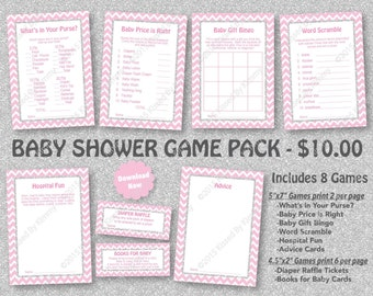 Pink Silver Glitter Baby Shower Game Pack - 75% Off - PRINTABLE Princess Girl Baby Shower Games - 8 Pack - Pastel Pink Silver -Diaper 20-S47