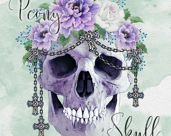 Skull and Peony Gothic Watercolour Clip Art
