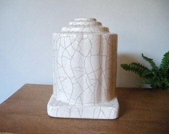 French ART DECO vase Building, lamp art deco base, french ceramic, 1940's,40 , craquelé,