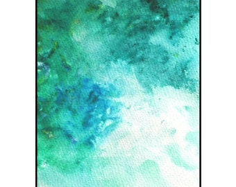 Original Abstract Art modern acrylic painting blue green and white - Awaken by Caerys Walsh dream inspired artwork