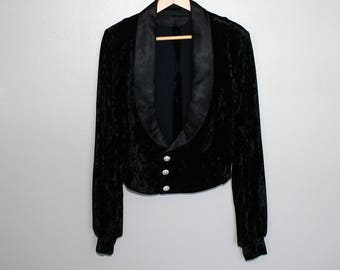 80s New Wave Crushed Black velvet Tuxedo Jacket  Punk Avant Garde Cropped Rhinestone Buttons Satin Lapel