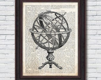Armillary Sphere Dictionary, Antique Globe, Celestial Globe Print, Astronomy Poster, Dictionary Print - DI022