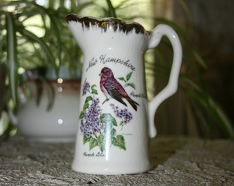Vintage New Hampshire State Souvenir Pitcher- Creamer, Purple Finch & Lilac made in the USA circa 1950