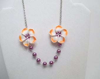 FLOWER NECKLACE,  BEADED Necklace, Pearl Necklace,  Orange Necklace,  White Flower Necklace,  Purple Necklace,  Gift For Her,  Prom Necklace