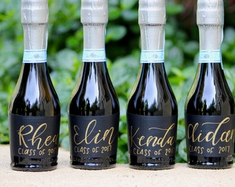 Personalized Mini Champagne Bottle Labels - Calligraphy Labels - Hand Written Labels - Personalized Wedding Favor - Party Favor - Champagne
