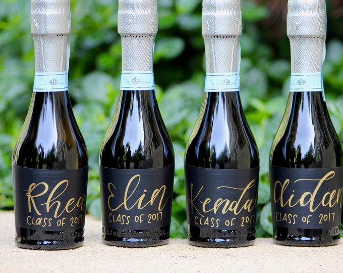Featured listing image: Personalized Mini Champagne Bottle Labels - Calligraphy Labels -Wine Bottle Labels - Personalized Wedding Favor - Will you be my bridesmaid?