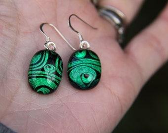 Green dichroic glass earrings, green dangly  earrings, dichroic drop earrings, birthday gift, fused glass earrings, glass jewellery