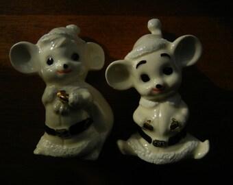 White Mice Figurines ~ Dressed Up as Santa