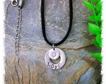 Handstamped LOVE pendant