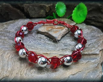 Handwired crystal beaded bracelet red and silver