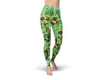 Audrey II Carnivorous Plants Botanical Print Illustration Leggings available in both regular and plus size