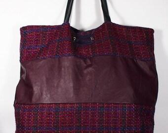SALE!!! Large bag, Tote Bag / Women's Handbag / Eggplant leather bag, Eggplant Bag