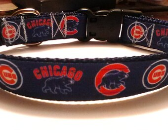 Handmade Chicago Cubs  dog collar