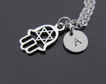 Jewish Necklace, Star Of David Hamsa Charm Necklace, Kabbalah Jewelry, Jewish Star Charm, Hebrew Charm, Shema Necklace, Judaica Jewelry