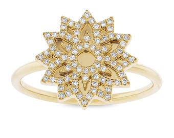 Unique Intricate 0.19ct 14k Yellow Gold Diamond Snowflake Lady's Ring