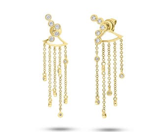 Unique Transformable Geometric 14K Yellow Gold Diamond Fringe Ear Jacket Dangle Earring With Studs