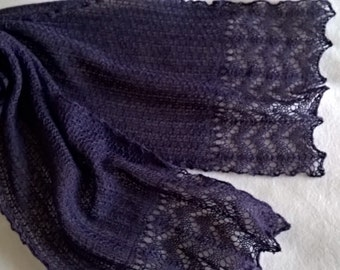 purple lace scarf /merino lace scarf/ purple scarf/ summer scarf/ wedding scarf/ FREE SHIPPING