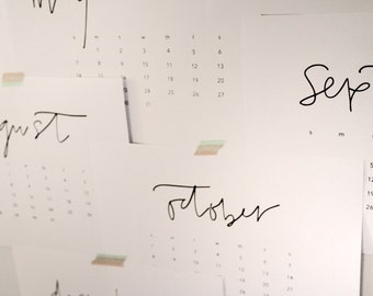 Calendar - 2017 calendar - black and white calendar - printable - download - digital print - instant download