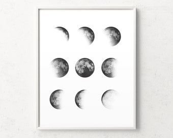 Moon phase print, moon phases wall art, moon phase wall art, moon phase, moon poster, minimalist moon, moon design, moon art, affiche lune