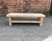 Reclaimed wood media Unit. Tv table with lower shelf. Solid rustic wood. Made to measure in any size. Low coffee table television stand