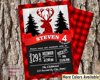 Buffalo Plaid Lumberjack Birthday Party Invite Wilderness Plaid Lumber Jack Invitation Rustic TIMBER Buffalo Camping baby shower #BDLJ9