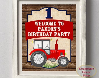 Tractor Welcome Sign Farm Party red blue birthday party woodland rustic table gift sign WST1