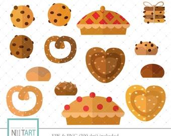 Pie clipart ,cookie clipart, Dessert clipart, vector graphics,  bagel digital image