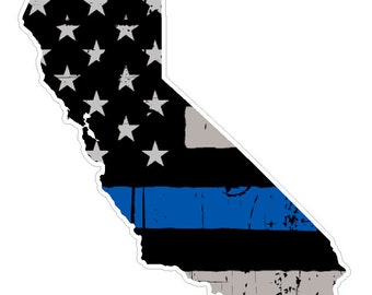 California State (V7) Thin Blue Line Vinyl Decal Sticker Car/Truck Laptop/Netbook Window