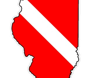 Illinois State (Y14) Diver Down Flag Vinyl Decal Sticker Car Laptop/Netbook