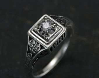 Edwardian--Antique Style Engagement Ring--Vintage Style Engagement Ring--Sterling Silver Filigree Ring--Square Ring--Art Deco Ring