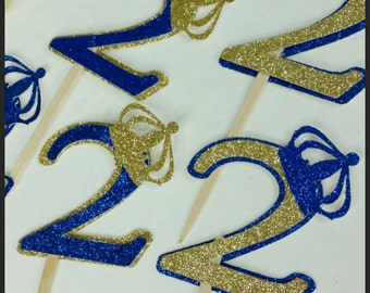 12 Glitter Royal Prince Cupcake Toppers, Royalty Cupcake Toppers