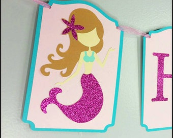 Gitter Mermaid Name Banner, Mermaid Name Banner, Mermaid Babyshower Banner