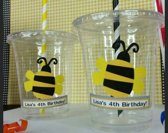 12 Personalized Bumblebee themed Party Cups with Straws and Lids!
