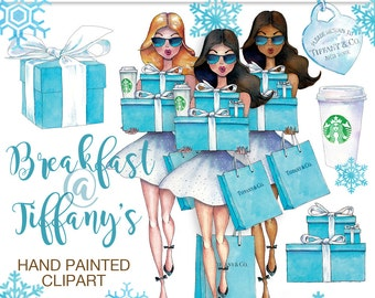 Fashion girl Breakfast at Tiffanys clipart shopping African American Starbucks cup Tiffany bag planner graphics party graphics for stickers