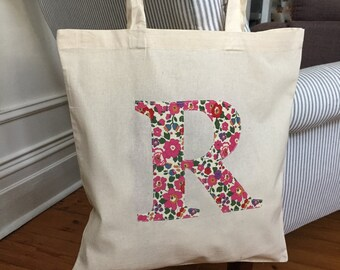Bridal Party Totes/Set of 4 to 20 Liberty Print Applique Tote Bags/Personalised totes/Gift for her/Tote bag gift set/Bridesmaids totes