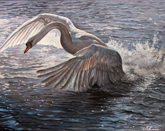 Swan Painting | Original Oil Painting |  Flying Bird | Landscape Painting | Classic Painting on Canvas | Realism painting Nature