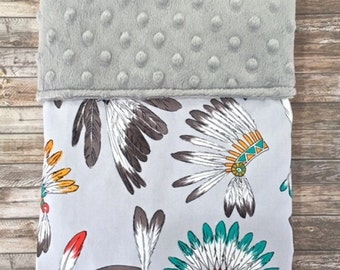 SALE: Handmade Minky Blanket, Bassinet Blanket, Pram Blanket, Cherokee